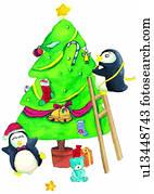 weihnachtsbilder pinguin illustrationen und clip art 644. Black Bedroom Furniture Sets. Home Design Ideas
