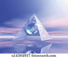 Globe in pyramid crystal, Computer Graphics, composition