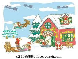 Stock Illustration Of Painting Of Santa Claus And Reindeer