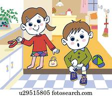 Stock Illustration Of Father And Daughter Leaving Home