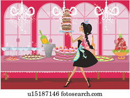Young woman carrying a tall cake to a table full of sweets
