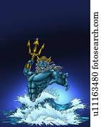 Poseidon in the sea