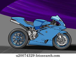 Blue street racing motorbike with blue and black background
