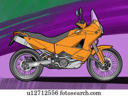 Dark yellow super enduro motorbike with purple and green background