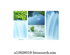 Collage of waterfall
