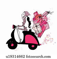 Young woman on scooter with many presents