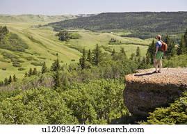 若い女性, 楽しむ, 光景, ∥において∥, ∥, 複合企業, 崖, 糸杉, 丘, interprovincial, 公園, サスカチェワン, canada.