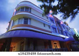 picture of usa florida miami beach art deco buildings dusk