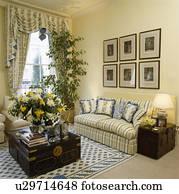 Groupe De Images Mur Au Dessus Raye Sofa Dans Pastel Jaune