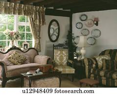 Rosa, Antiker, Sofa, Und, Viktorianische, Stuhl, In, Land,