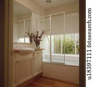 banque de photo moderne gris salle bains douche devant grand fen tre u24453322. Black Bedroom Furniture Sets. Home Design Ideas