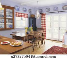 Semplice, tavola legno, e, sedie, in, cucina, con, sughero