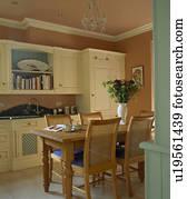 Holztisch Und Fussboden In Gestrahlt Landhauskuche Mit