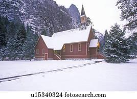 kirche, in, winterbilder