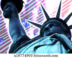 close up statue of liberty with flag background