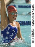 weiblich, schwimmer, feiern, sieg, in, teich