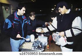 freiwilligenarbeit, und, wohnungslos, an, suppenkueche